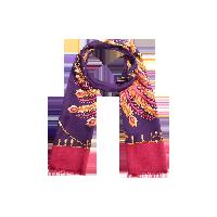 2色可選 鳳凰于飛真絲長巾紫紅