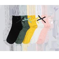 女式蝴蝶结四季中筒袜粉色+白色+姜黄+黑色+墨绿