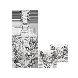 捷克制造 冰川系列水晶烈酒具酒具套裝(1酒樽+2酒杯)