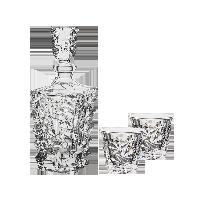 捷克制造 冰川系列水晶烈酒具酒具套装(1酒樽+2酒杯)