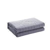 新色 纯棉水洗色织格薄被雾灰色+浅紫色180*200cm