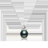 法属大溪地黑珍珠钻石项链11-12mm珍珠项链