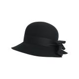 精致蝴蝶结宽檐毛毡帽精致黑