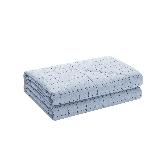 新色 纯棉水洗色织格薄被水雾蓝+白色180*200cm
