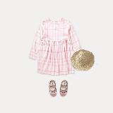 女童格纹长袖连衣裙 4-16岁160cm(建议年龄13~15岁)