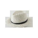 简约短檐编织帽米色