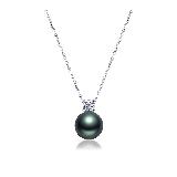法属大溪地黑珍珠钻石项链10-11mm珍珠项链