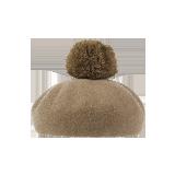 兔毛球毛毡贝雷帽简约棕