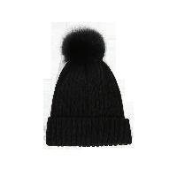 狐狸毛球针织帽黑色