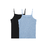 女式皮马棉基础吊带黑+蓝 两件*S