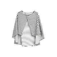 多用途双层纱哺乳巾推车防晒罩灰白条纹