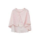多用途双层纱哺乳巾推车防晒罩粉白条纹