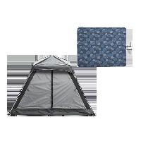 家庭公园郊游装备套装郊游3-4人帐篷(暗夜灰)+户外野餐垫
