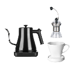 手沖咖啡3件套手沖壺+磨豆機+陶瓷濾杯(白)