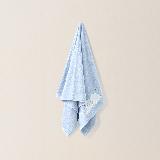 超柔細方面浴巾  繡花長絨棉 藍象 努努*面巾 30X70cm*三條裝