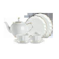 真金描邊骨瓷茶具 5件套【特惠裝】1壺2杯2碟+點心盤*2