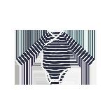 新生儿条纹长袖三角哈衣 59-90cm藏青条纹*90cm(适合1-2岁)