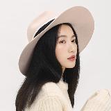 法式优雅毛毡大檐帽静谧粉-57cm