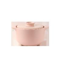 欧式双盖微压焖煮陶瓷煲樱花粉/2L