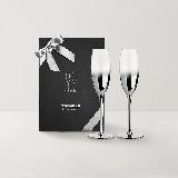 黑天鵝 高腳香檳對杯禮盒手工香檳杯 245ml*2支(含禮袋)