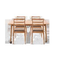 原素·實木簡約桌椅組合 1桌4椅原木色*1.4米餐桌+4把簡約椅