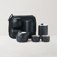 枯山水旅行茶具4件套1壺2杯1茶葉罐