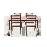 原素·實木簡約桌椅組合 1桌4椅胡桃木色*1.4米餐桌+4把簡約椅