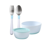 寶寶食飯碗勺組合裝藍色款粉藍套組