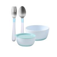 宝宝食饭碗勺组合装蓝色款粉蓝套组