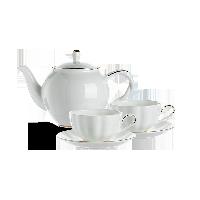 真金描邊骨瓷茶具 5件套1壺2杯2碟