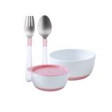 寶寶食飯碗勺組合裝粉色粉色套組
