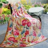 富安娜家纺 毛毯春秋毯子午睡毯多功能双人盖毯 法兰绒毯 朝花夕拾 1.8*2米 红色