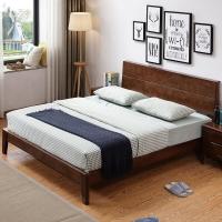 奈高北欧实木时尚双人床家用储物日式简约卧室单人公寓床1.5米*2米-胡桃色AA64