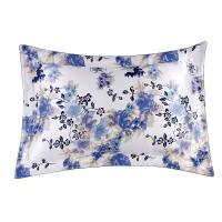 太湖雪 床品家纺 真丝枕套 100%桑蚕丝绸双面全真丝头枕套 单个装 芳香四溢-蓝 48*74cm