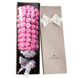 I'M HUA HUA51朵粉色玫瑰花香皂花禮盒保鮮花速遞同城520情人節鮮花禮物母親節生日禮物送女生老婆
