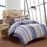 富安娜家纺 四件套纯棉全棉床品套件床单被套 简约中性条纹单双人 美好时光1米5/1米8床(203*229cm)蓝色