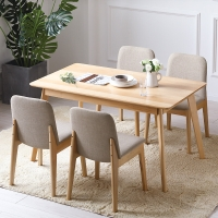 精邦家具 餐桌椅北欧进口实木软包一桌四椅威尼斯1.4米CT-8016