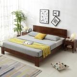 奈高北欧实木时尚双人床家用储物日式简约卧室单人公寓床1.5米*2米-胡桃色AA61