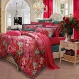 富安娜家纺 床上用品四件套婚庆结婚?#20493;?#32431;棉全棉床品套件床单被套 花舞盈歌 1米5/1米8床(203*229cm)红色