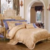 富安娜家纺 真丝天丝四件套高档提花床品套件 双人加大 阿拉丁图腾1米8/2米床(230*229cm)黄色
