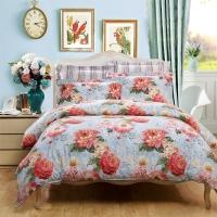 富安娜家纺圣之花 床上用品四件套纯棉全棉床品床单被套 印花单双人 豆蔻年华 1米8/2米床(230*229cm)蓝色