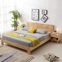 奈高北欧实木时尚双人床家用储物日式简约卧室单人公寓床1.5米*2米-原木色AA61