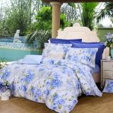 富安娜家纺 床上用品四件套纯棉全棉床品套件床单被套 印花单双人 芳菲四月 1米8/1米5床(230*229cm)蓝色