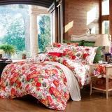 富安娜家纺 床上用品四件套纯棉全棉床品套件床单被套 印花单双人 艳冠群芳 1米5/1米8床(203*229cm)红色