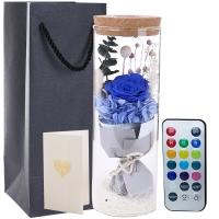 I'M HUA HUA保鮮花速遞七彩許愿瓶藍色永生花禮盒生日禮物紀念日520情人節鮮花禮物母親節生日禮物送女生