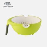 佳佰 双层洗菜盆厨房洗水果神器家用创意客厅水果盘圆形旋转沥水篮水果篮 J-273