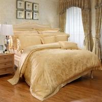 富安娜家紡 床上用品四件套歐式提花高檔床品套件 單人雙人 米蘭之夜1米5/1米8床(203*229cm)黃色