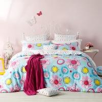 多喜爱(Dohia)床品套件 全棉田园风双人加大四件套 床单款 恋花时光 1.8米床 230*229cm