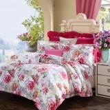 富安娜家纺 床上用品四件套纯棉全棉床品套件床单被套 印花单双人 四季狂想 1米8/1米5床(230*229cm)红色