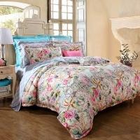富安娜家纺 床品套件全棉贡缎高支高密印花四件套纯棉床单被套 桑菲尔德庄园  1.8米床(230*229cm) 粉色